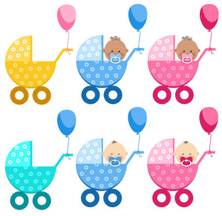 prams: Babies in strollers, different, boy, girl, South Asia, Africa. On a white background six colored, strollers. In four strollers sit babies, boys and girls with nipples. Prams, tied balloons. Illustration