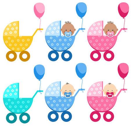 pezones: Los bebés en cochecitos, diferente, muchacho, muchacha, Asia del Sur, África. Sobre un fondo blanco seis colores, sillas de paseo. En cuatro cochecitos de sentarse bebés, niños y niñas con pezones. Cochecitos de niños, atados globos.