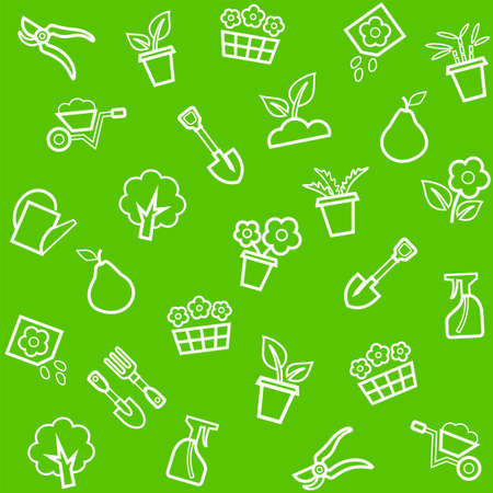 Background, horticulture, floriculture, seamless, green. Vector, seamless, green background with white linear icons flowers, seedlings and tools for the garden.
