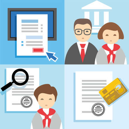online form: Banking, Finance, credit application form, managers, issuing cards, color flat illustrations, icons. Colored, flat illustrations, icons with images of managers, bankers, paper documents, online forms questionnaires, plastic card.