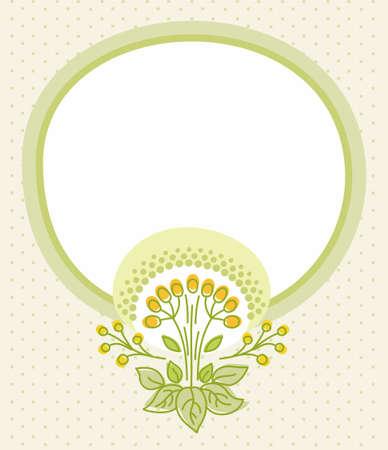 flecks: Beige postcard, green frame, green flower, yellow berries. Beige card with a green, round frame for text and green flower with yellow berries. Print.