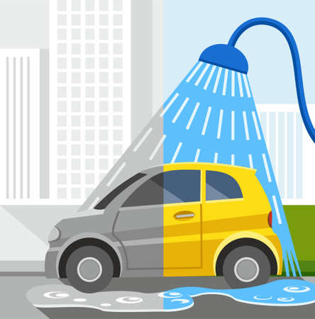 yellow car: Car wash, coloured illustrations, dirty car, clean car. Car wash in town. Coloured illustrations, half-grey, half-coloured. Car wash in the shower. Half of a yellow car is dirty, half of the car is clean. Illustration