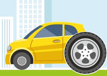 replacing: Car, replacement of wheels, tyres, colored illustration. On the street, a small yellow car to change the wheel. Colored, flat illustration. Illustration