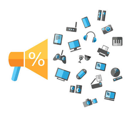 Closeout TVs, video, audio, computers, phones and office equipment. Discounts, closeout computers, TVs, audio and photographic equipment, color, flat illustration on white background. Vector.