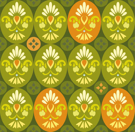 cor: Floral green pattern in ovals and circles. Decorative seamless pattern with stylized flowers in green and orange. For printing and textile prints.