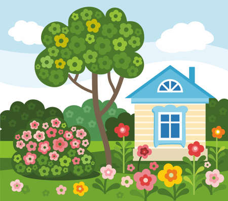 Flowers, home, summer, colored, flat, illustration. On the lawn stands a house, a tree grows and blossoms the Bush. On the green grass grow bright flowers. Colored, flat illustration. A simple children's style. Illusztráció