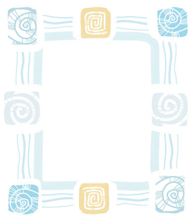 cor: Frame of sea shells, mollusks, color, flat. Colored, flat frame of wavy blue lines and prints of sea shells. Natural, abstract composition. For printing, textile prints and decorating. Illustration
