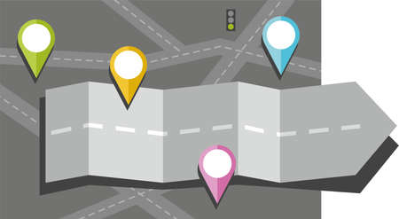 dividing line: Gray arrow, road, map, route, object, icon, destination, color, flat. Colored, flat illustration with an arrow in the form of a road on a dark gray background maps. Top placed bright colored object icons.
