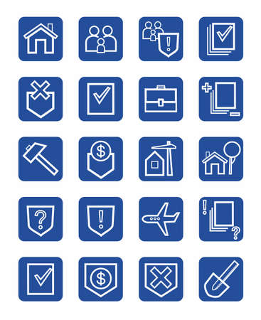 Icons legal services, civil law, white, contour, blue background, monochrome. White contour image of legal services in civil and land law. Flat icons on blue background. For print, websites and infographics. Illustration