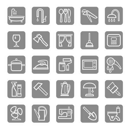 ware: Icons, household goods, appliances, plumbing, white outline, grey background. White, contour icons of household products, sanitary ware and household appliances. White on a gray background. For websites, print and infographics. Illustration
