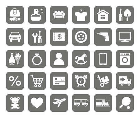clothes rail: Icons, online store, product categories, monotone, grey background. Icons of categories of goods for the online store. White icons on a gray background. Illustration
