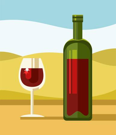 warm weather: Red wine, green bottle, clear glass, landscape, illustration. On the table is red wine in a green transparent bottle and a glass on a long stalk with wine. Yellow hills and blue skies, Sunny, warm weather. Colored, flat illustration.