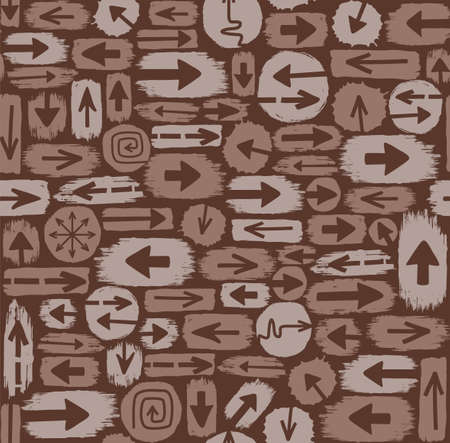 tearing down: Arrows seamless pattern, brown. Vector brown background, the brown spots are the arrows. Color, flat, seamless background for decorating.