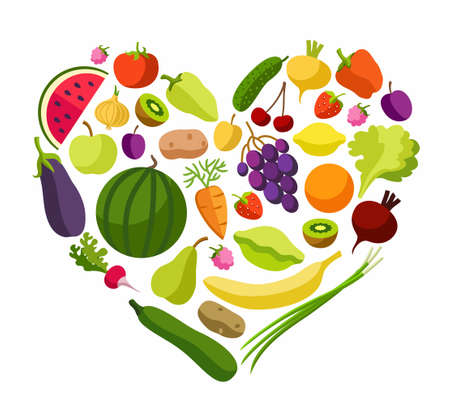 Fruits, vegetables, heart, coloured illustrations. Fruits and vegetables in the shape of a heart. Vegetarianism and raw food diet. Colored, flat, vector picture isolated on white background.