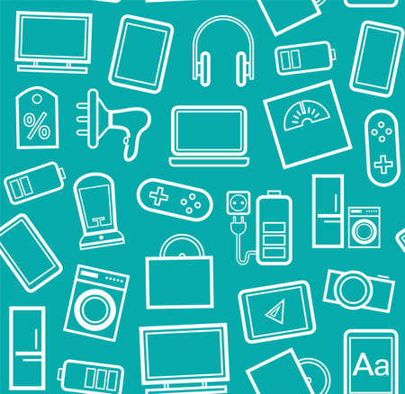 consumer electronics: Gadgets and consumer electronics, blue-green background, seamless, linear pattern. Vector green background with white contour drawings of gadgets and appliances.
