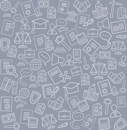 color consultation: Legal services, background, gray. Vector seamless pattern with linear icons of legal services on a gray background.
