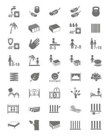 Matratzen, Matratzenbezüge, Betten, einfarbige Icons. Monochrom, Vektor-Icons mit Bildern von Arten von Betten und Matratzen auf weißem Hintergrund. Vektorgrafik