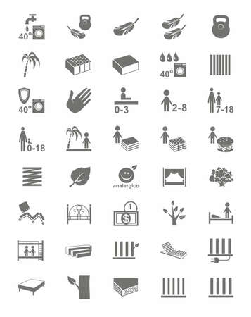 inexpensive: Mattresses, mattress covers, beds, one-color icons. Monochrome, vector icons with images of types of beds and mattresses on a white background.