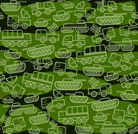 Military equipment, dark green seamless pattern. Vector seamless background with military equipment on a green field with spots. Green, linear icons. Color, flat pattern.