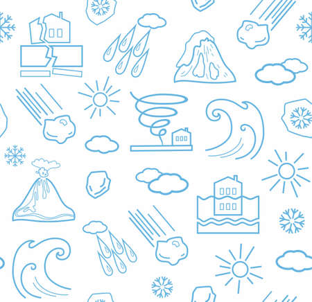 natural disasters: Natural disasters and weather conditions, seamless white and blue background. Vector background with linear icons of natural disasters and the weather. Blue image on a white background. Illustration