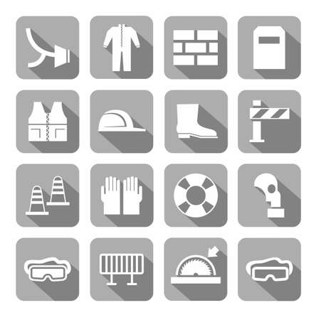 lugs: Occupational safety, personal safety, icons, monochromatic, gray. Vector icons with protective clothing and items of human security. White images on a gray background with shadow.