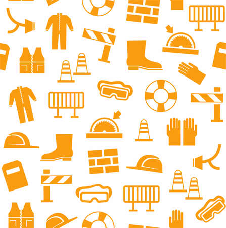 Occupational safety, personal security, background, seamless, white. Orange flat icons of protective clothing and protective items on a white background. Vector background. Illustration