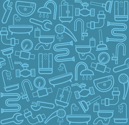 Plumber, background, seamless, sanitary tool, blue-gray. Blue icons of plumbing and plumbing tools on a grey background. Vector, color, flat background.