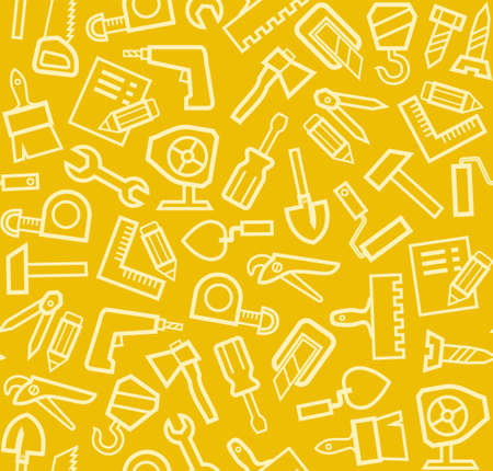 Construction tools, background, seamless, yellow. Vector seamless pattern with linear icons of building tools on a yellow background. One color, flat.