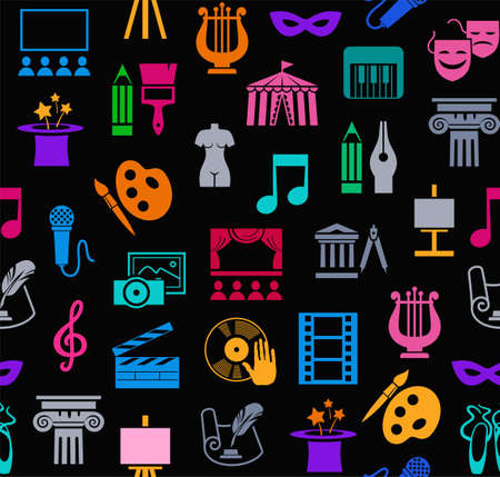 Art & culture, background, seamless, black. Vector background with images of objects of culture, leisure and entertainment. Colorful, flat icons on a black background.