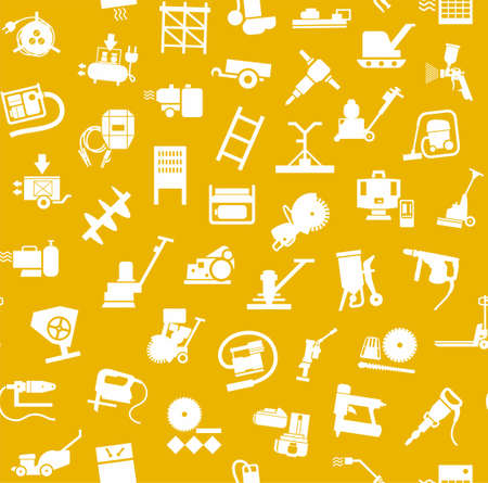 Construction equipment and tools, seamless pattern, yellow. Vector background with images of equipment for construction and repair. White, flat pictures on a yellow field.
