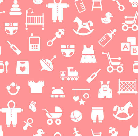 romper: Products for children, background, seamless, pink. Vector colored background with clothes, toys and personal items for newborns and young children. White icons on a pink background.