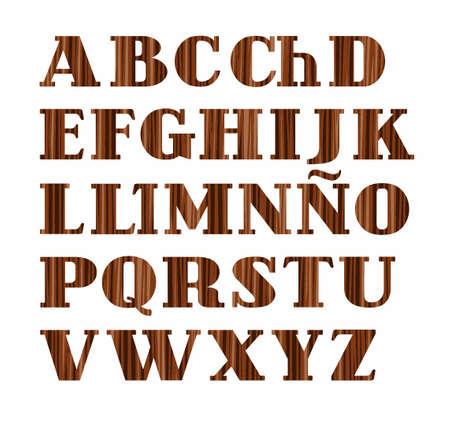 Spanish alphabet, capital letter, wood texture, imitation, vector. Vector font, on a white background. Brown letters, imitation wood texture. Illustration
