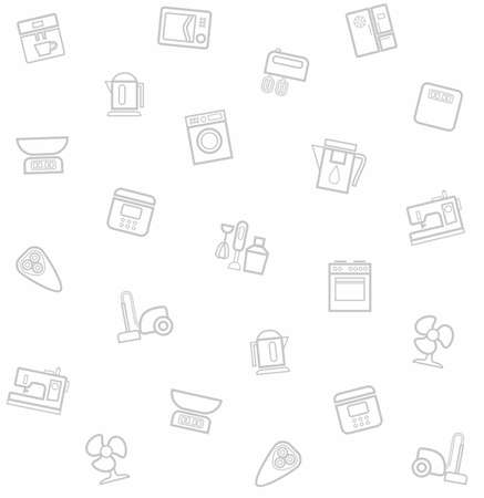 appliances: Appliances, seamless pattern, white. Vector, white, seamless background with icons of household appliances and electrical appliances.