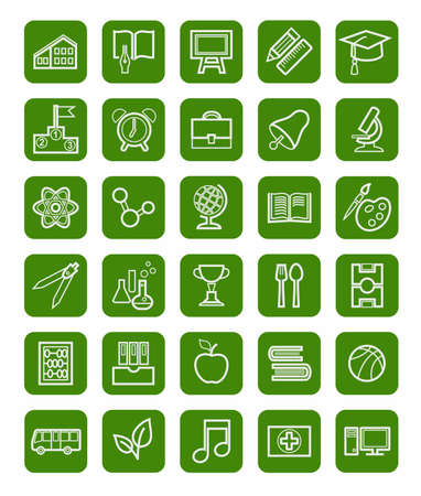 school bills: Education, icons, linear, white outline, green background. Study in school, College, University, vector icons. White, linear image on a green background. Illustration