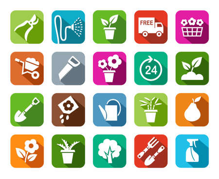 pruner: Gardening, icon, background color, shadow. Gardening, vector, flat icons. White image on a colored background with a shadow.