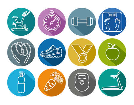solid color: Icons fitness, gym, healthy lifestyle, white outline, solid color, round. Round icons on the theme of sport, fitness and healthy lifestyle. White outline on a colored background. For websites, print and infographics.