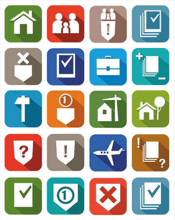 consumer rights: Colored icons legal services. Icons of legal services for websites, advertising and printing.