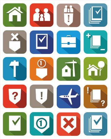 relaciones laborales: Iconos de color servicios legales. Los iconos de los servicios legales para los sitios web, publicidad e impresión.