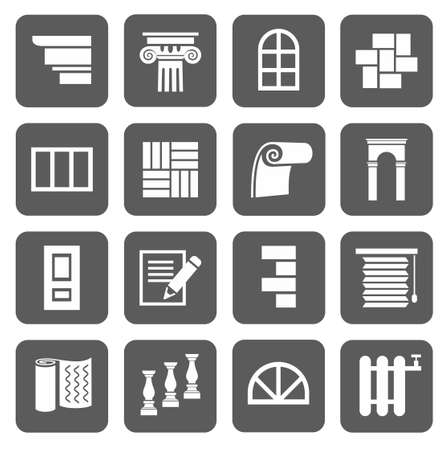 De pictogrammen zijn plat bouw, afwerkingsmaterialen, reparatie. Monochrome pictogrammen met symbolen van renovatie en nieuwbouw. Voor websites en drukwerk. Stock Illustratie