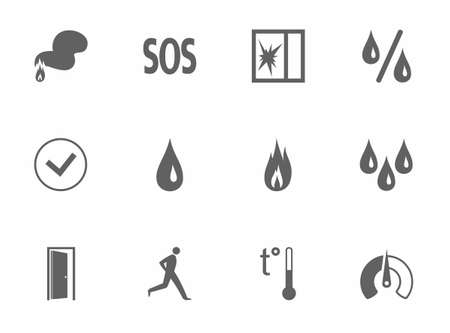 glass break: Alarm, fire detectors, humidity, motion, temperature, glass break, icons, monochrome. Vector dark gray image on a white background. Pictures for the sensors.