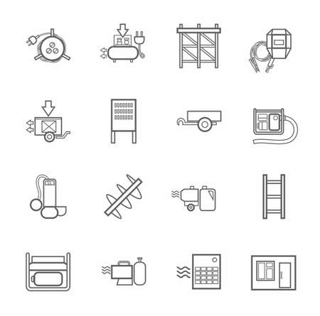 switchboard: Electric equipment and construction equipment, contour icons, monochrome. Gray, vector linear image electric, gas, and construction equipment on a white background. Illustration