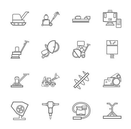 sander: Equipment for working with concrete, construction machinery, contour icons monochrome. Vector, linear grayscale images of construction equipment and tools on white background. Illustration