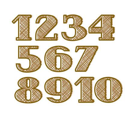 Numbers, burlap, thin contour, color, vector. Colored, flat figures with serifs and subtle contour. Imitation burlap. Textile weave.
