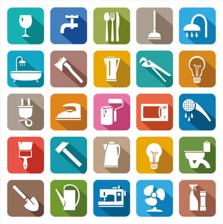 household goods: Household goods, household products. Colored icons of consumer goods.