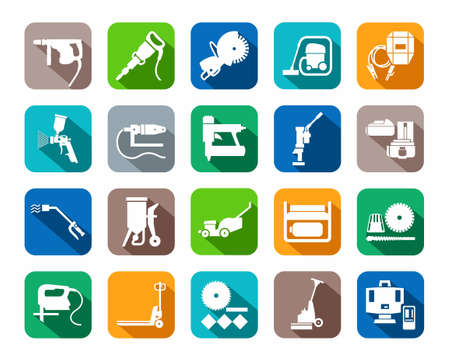 Construction tools, consumables, icons, colored, flat. White, vector image equipment for construction and renovation on a colored background with a shadow.