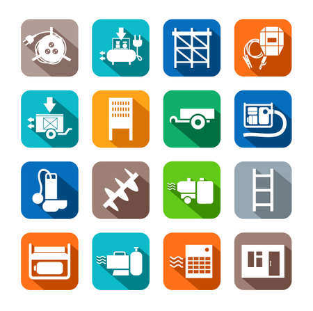 switchboard: Electrical equipment and construction tools flat icons colored. White, vectors, electrical, gas and construction equipment on a colored background with a shadow.