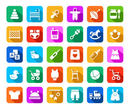 romper: Products for children, colored flat icons. Clothes, toys and personal items for newborns and young children. White icons on a colored background with a shadow.