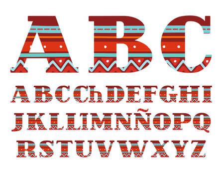 Sommer, Das Spanische Alphabet, Großbuchstabe, Vektor, Schriftart ...