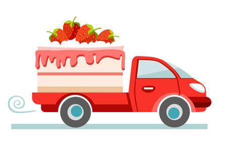 Tortas, la entrega, la imagen de color. El coche rojo lleva la tarta de fresa. Producción y entrega de pasteles. Ilustración plana de color sobre fondo blanco. Vector.