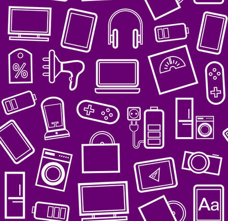 consumer electronics: Gadgets and consumer electronics, purple background, seamless, linear pattern. Vector purple background with white contour drawings of gadgets and appliances.